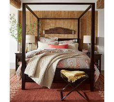 Gemma Rose Reversible Duvet Cover & Shams. I like the wall, it's a simple rustic touch.