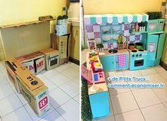 Cette maman a réalisé pour sa fille un truc incroyable ! Une mini cuisine pour enfants en utilisant que des cartons. On a adoré et on partage avec vous !  Découvrez l'astuce ici : http://www.comment-economiser.fr/comment-fabriquer-une-cuisine-cartons-pour-enfants.html?utm_content=buffer3ef20&utm_medium=social&utm_source=pinterest.com&utm_campaign=buffer