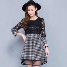 5xl plus big size women clothing dress 2016 spring autumn korean vestidos party plaid lace stitch dress female A1745