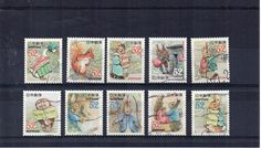 Japanese Peter Rabbit & friends small used postage stamp set. Beatrix Potter. Japan Craft Collect invites decoupage Scan enlarged