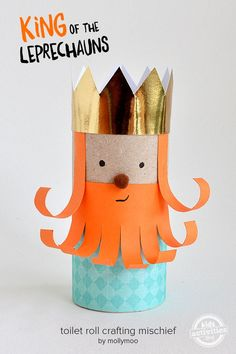 Toilet Roll Leprechaun King - Your kids will love making this toilet roll leprechaun king and a group of his leprechaun friends for some Paddy's Day shenanigans around the house xx