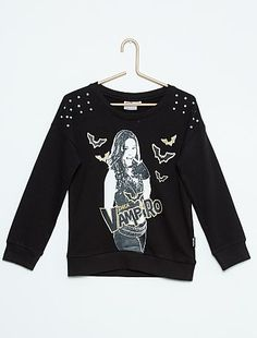 Sweat en molleton 'Chica vampiro'                                          gris chiné Fille  - Kiabi