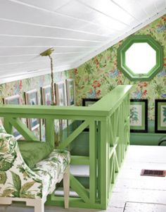 Attic room. Color/wallpaper inspiration. Also, idea for replacing the banister with something more unique, and adding something to the shelf in the stairway.