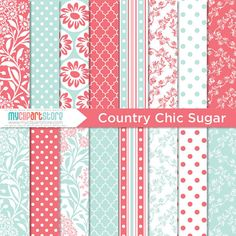 Digital Paper  Country Chic Sugar / Pink and by MyClipArtStore, $3.00
