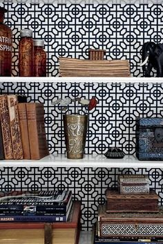 a perfect gray: wallpapered bookcase backs...