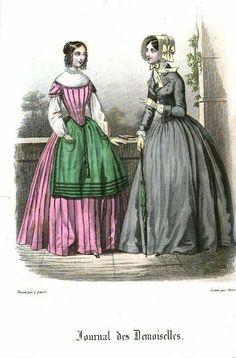 1847. day dresses, Louis XVI. influence, Journal des Demoiselles, June