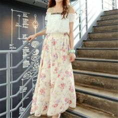 Of The New Refreshing Flower Color Chiffon Skirt Big Swing Maxi Skirts Beige A Line Skirts, Mini Skirts, Broomstick Skirt, Cadeau Couple, Hobble Skirt, Chiffon Skirt, Latest Fashion For Women, Fashion Trends, Beige