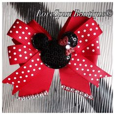 Minnie Mouse bow $7 - visit my page to order! Facebook.com/LoveSpunBoutique