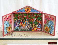 """Retablo peruano Hecho a Mano, """"Festival Andino"""" - Decoracion Para el Hogar - Arte Peruano - Regalos Unicos - Adornos de madera y ceramica by DECORCONTRERAS on Etsy"""