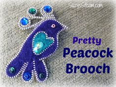 Pretty peacock brooch made with zippers and felt!  Includes pattern and tutorial!  Great for Mother's Day!