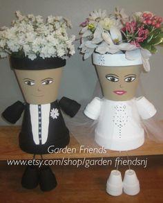 Free Ship Wedding Couple Bride & Groom Pot by GARDENFRIENDSNJ