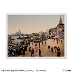 1890s Riva degli Schiavoni, Venice, Italy antique photo posters