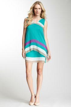 Alberta Ferretti Silk Sleeveless Striped Dress on HauteLook