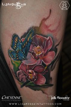 Floral Tattoo with Butterfly