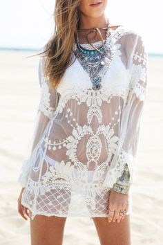 Demarkt sexy beach lace vest swimwear swimsuit cover up shirt dress