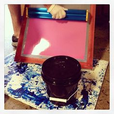 Coating screens with PINK emulsion! The boys may complain, but it feels refreshing to take a break from blue. #screenprinting #shoppics #pink