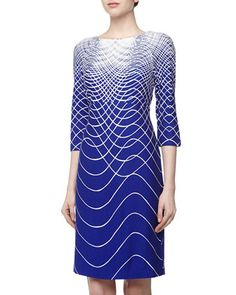 Sound Wave Print Stretch Jersey Dress, Royal/Ivory by Taylor at Neiman Marcus Last Call.