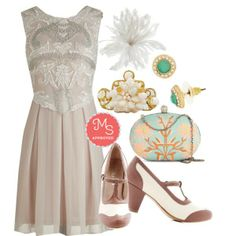 Ornate Entrance Dress, Gallery Opener Heel in Rose, Garden Grandeur Clutch, Let's Be Regal Earrings, Swirls of Pearls Bracelet, Delicate Delights Hair Comb