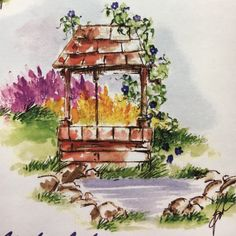 art impressions - watercolor - markers - catalog photo - wishing well
