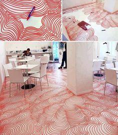 Incredible Permanent Marker Floor Installation in a Cafe in Prague by a Cologne-based artist Heike Weber. Floor Design, House Design, Town Country Haus, Home Interior, Interior Design, Interior Ideas, Floors Direct, Rustic Shower, Floor Art