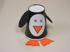 Black paper cup penguins.