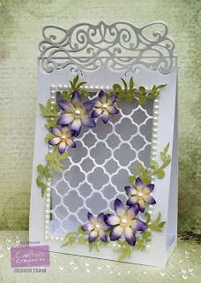 Gift Bag made with Sara Signature Floral Delight collection and Victoriana Edg'ables die from Crafter's Companion. Made by Liz Walker