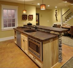Acid stained concrete counters #kitchen