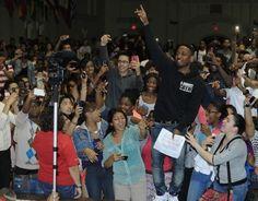 Kendrick Lamar Visits School in Rhode Island wearing Black Hippy Hoodie, Hermes Belt, and Air Jordan Retro 5 Sneakers #fashion #sneakers
