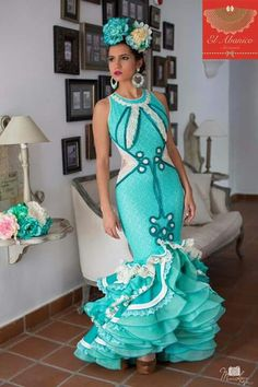 """A wonderful city in Andalusia famous for its Flamenco shows, tapas and. Flamenco Costume, Flamenco Dancers, Flamenco Dresses, Spain Fashion, Mardi Gras Costumes, Frou Frou, Mermaid Gown, African Dress, Formal Dresses"