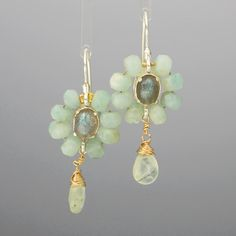 Labradorite Amazonite Flower Earrings Flower by yifatbareket