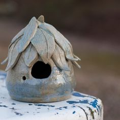 Fairy / Bird House made of stoneware clay and glazed by Brandace