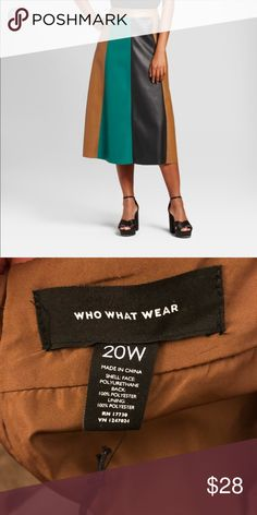 Who what wear faux leather skirt 🔺WHO WHAT WEAR 🔺 FAUX LEATHER SKIRT 🔺 COLOR BLOCK 🔺 BROWN / GREEN / BLACK 🔺 ZIPPER IN THE BACK 🔺SIZE 20W WHO WHAT WEAR Skirts