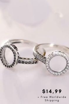 Our Sterling Silver Eternity Circle Ring is just the right amount of sparkle to add to any outfit. This Pandora inspired ring is created with micro-pave clear or black cubic zircon according to your order. Silver Bracelets, Silver Jewelry, Sterling Silver Rings, Gold Rings, Promise Rings, All About Fashion, Crystal Necklace, Gold Chains, Wedding Rings