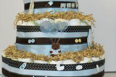 Diaper Cake zoom in um close no Bolo de Fralda