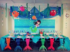 The Little Mermaid Birthday Party Decorations Little Mermaid Birthday, Little Mermaid Parties, 2nd Birthday Parties, Girl Birthday, Birthday Ideas, Little Mermaid Decorations, Stage Decorations, Birthday Decorations, Little Mermaid Invitations