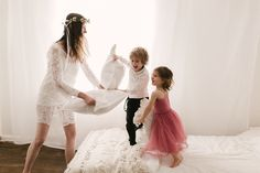 Boho mama session, pillow fights + floral crowns.  Newborn & Baby Photographer, Buckinghamshire, UK