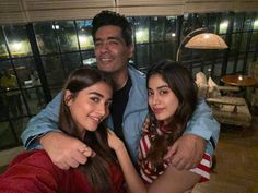 ManishMalhotra poses for a selfie with his girls JanhviKapoor and PoojaHegde. Management Company, Actors & Actresses, Bollywood, Entertaining, Poses, Selfie, Film, Squad, Figure Poses