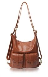 """Epiphanie Caramel India camera bag. Sale Price: $199.00. Converts to backpack. Leather. 13""""x4""""15""""H"""