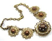 Brown Thermoset Rhinestone Necklace 1950s Vintage Jewelry Gift