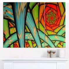 "Designart 'Green Fractal Endless Tunnel' Abstract Canvas Art Print- 3 Panels 36""x28"""