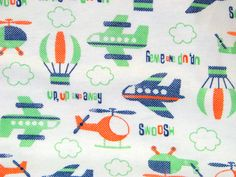 Up Up & Away Flannel Fabric plane helicopter hot air balloon blue green orange - Yard. $5.00, via Etsy.