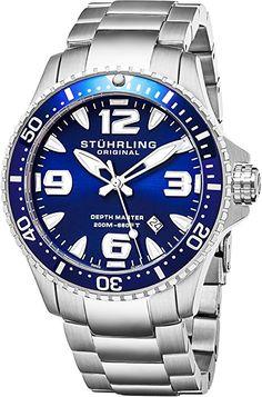 Stuhrling Blue cara relojes de buceo para hombres Cuarzo suizo 200 metros Resistente al agua sólido pulsera de acero inoxidable tornillo abajo corona diseñadores elegante vestido deportivo reloj: Amazon.es: Relojes