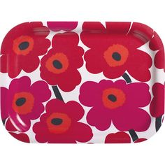 """Designed in 1964 by Maija Isola, the Unikko (""""poppy"""") design has been the most popular Marimekko print since its introduction. Challenging the common notion of decorative florals, Unikko broke from tradition with its creative pop art interpretation in bold, simplified pattern and bright color."""