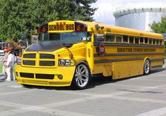 "Forty School Buses that are indeed ""too cool for school"" - Pimp My School Bus Custom Big Rigs, Custom Trucks, Rat Rods, School Bus Driver, School Buses, Bugatti, Nice Bus, Big Ride, Jeep"