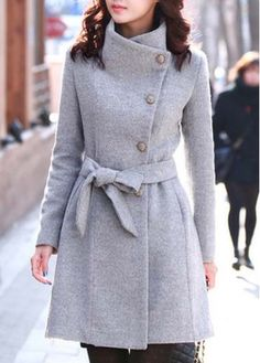 Exquisite Single Breasted Long Sleeve Autumn Coat Grey on sale only US$15.86 now, buy cheap Exquisite Single Breasted Long Sleeve Autumn Coat Grey at martofchina.com