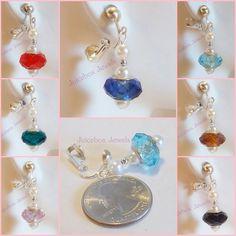Clip on Faceted GLASS Faux Pearl 1 inch Dangle Handmade Non-Pierced Earrings 1pr #cliponearrings #handmade #Glassearrings #fauxpearls #juiceboxjewels #DropDangle