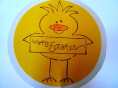 Easter Yellow Chick cupcake toppers party picks set of by Wcards, $7.00