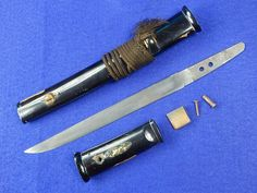 Antique Japanese Japan Tanto Fighting Knife Sword w/ Scabbard