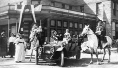 Buffalo Bill and his family in front of The Irma Hotel in Cody, WY