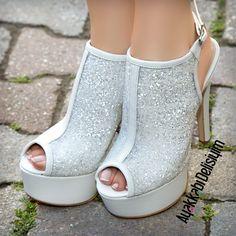 Beyaz Simli Topuklu Ayakkabı #wedding #shoes #white